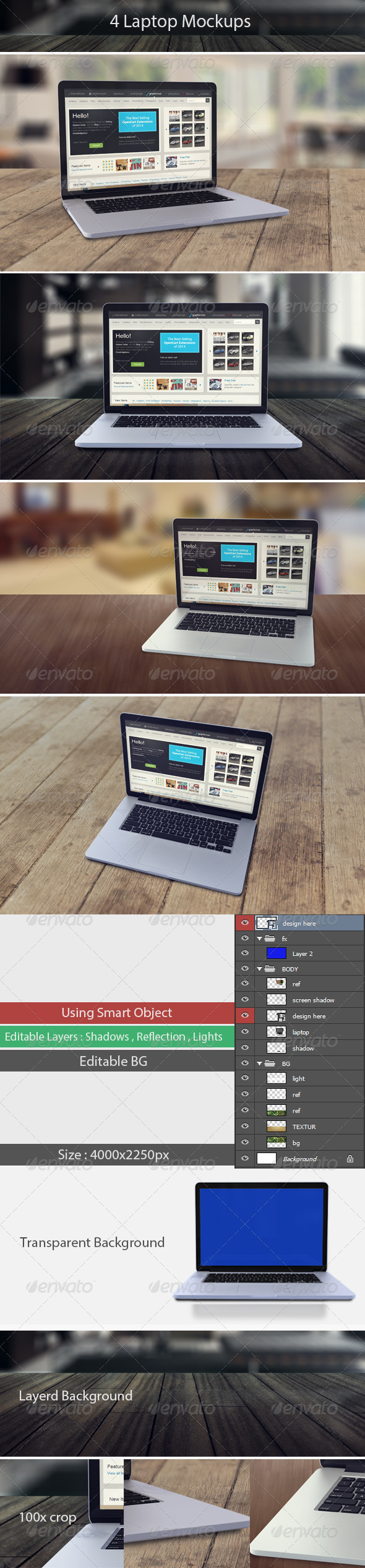 GraphicRiver 4 Laptop Screen Mockups 8125161