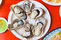 delicious and nutrition sea food  ,barbecue Oysters with mustard on table - PhotoDune Item for Sale