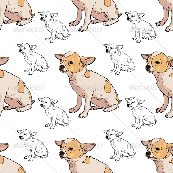 GraphicRiver Seamless Pattern of Adorable Chihuahua 8334814