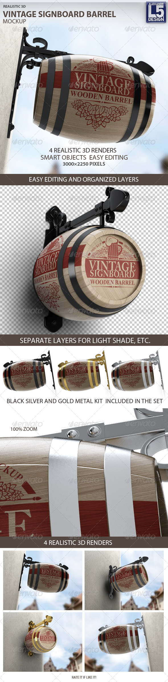GraphicRiver Vintage Signboard Barrel Mock-Up 8335010