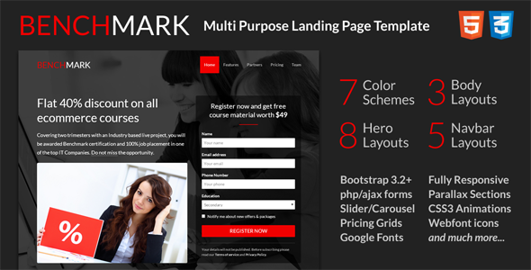 Benchmark - Multi purpose landing page template - Landing Pages Marketing