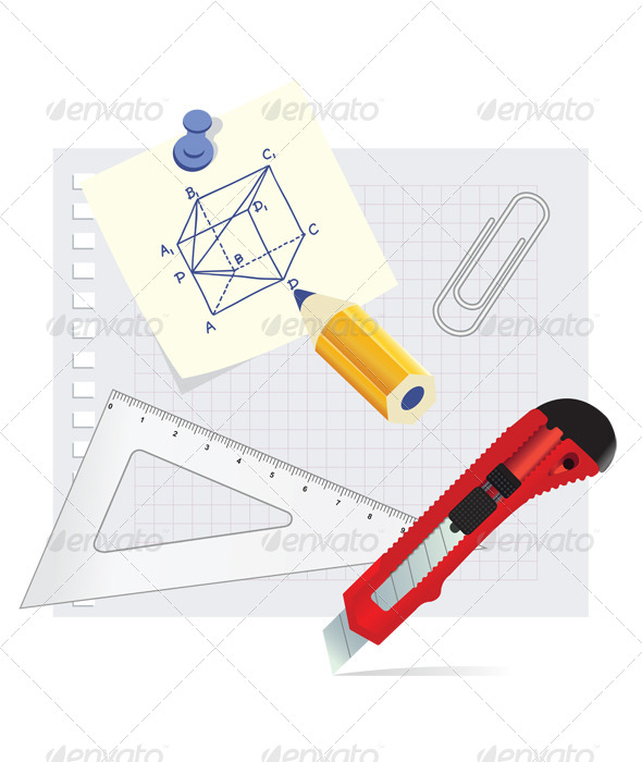 GraphicRiver Set School Supplies 8335747