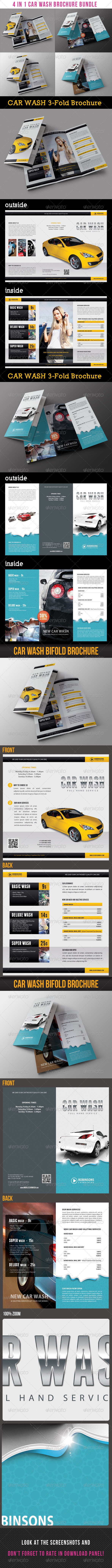 GraphicRiver 4 in 1 Car Wash Multiuse Brochure Bundle 01 8336073