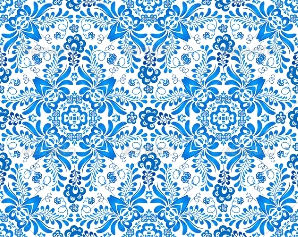 GraphicRiver Blue Floral Seamless Pattern 8336076