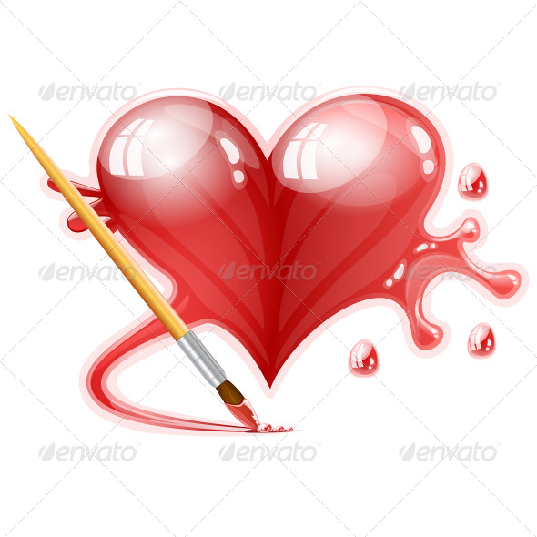 GraphicRiver Heart Painted with a Brush 8336318