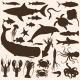 Set of Sea Animals and Fishes Silhouettes - GraphicRiver Item for Sale