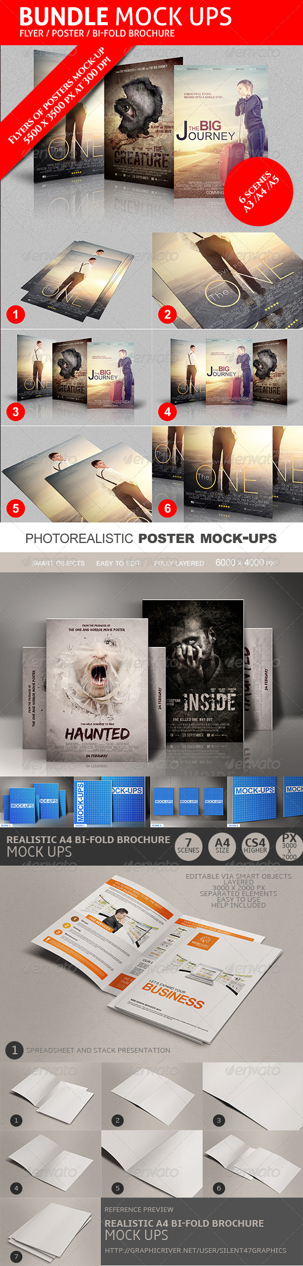 GraphicRiver Flyers Posters Bifold Mockups Bundle 8336818