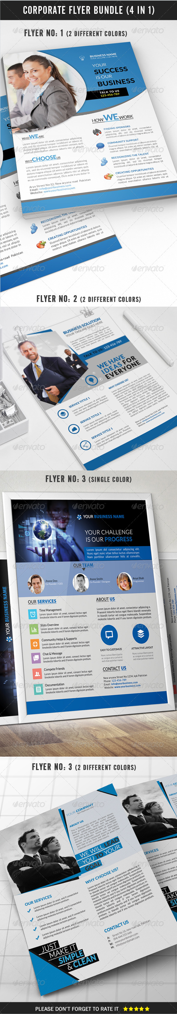 GraphicRiver Corporate Flyer Bundle 4 in 1 8336821