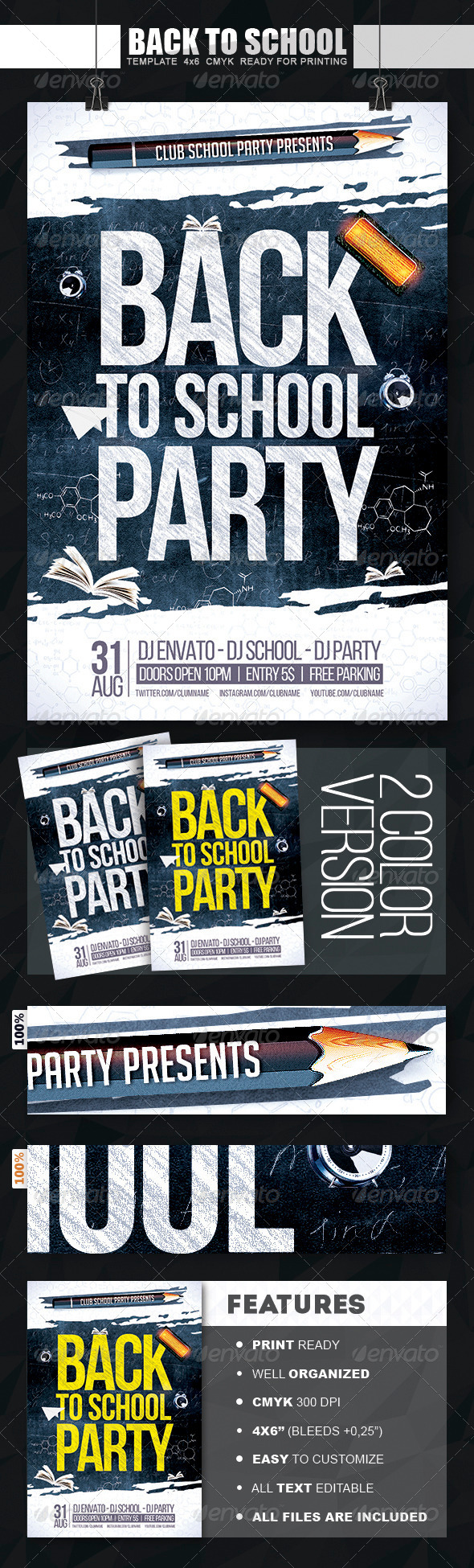 GraphicRiver Back To School Party Flyer 8337173