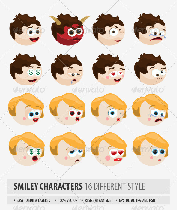 GraphicRiver Smiley Characters 8337375