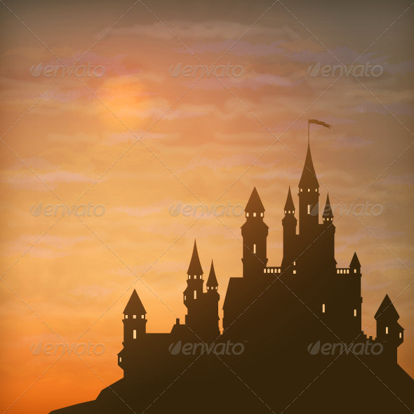 GraphicRiver Fantasy Vector Castle Moonlight Sky 8337405