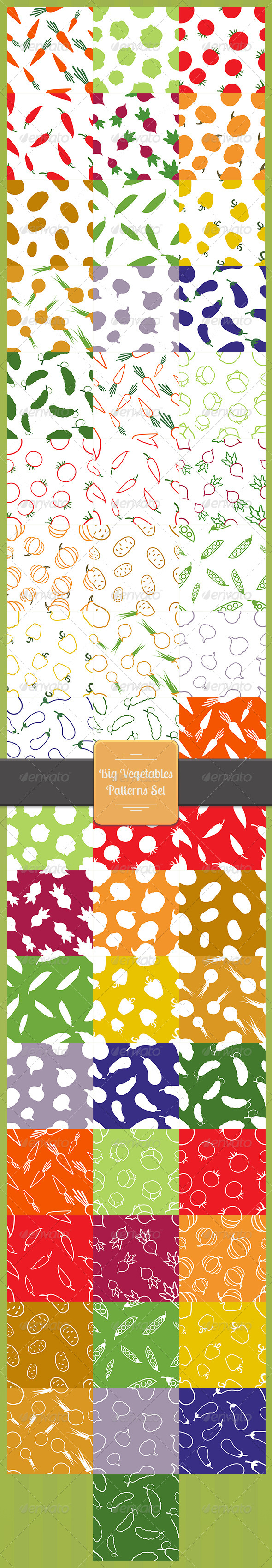 GraphicRiver Big Vegetables Patterns Set 8337592