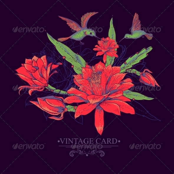 GraphicRiver Vintage Card with Red Flowers and Hummingbirds 8337818