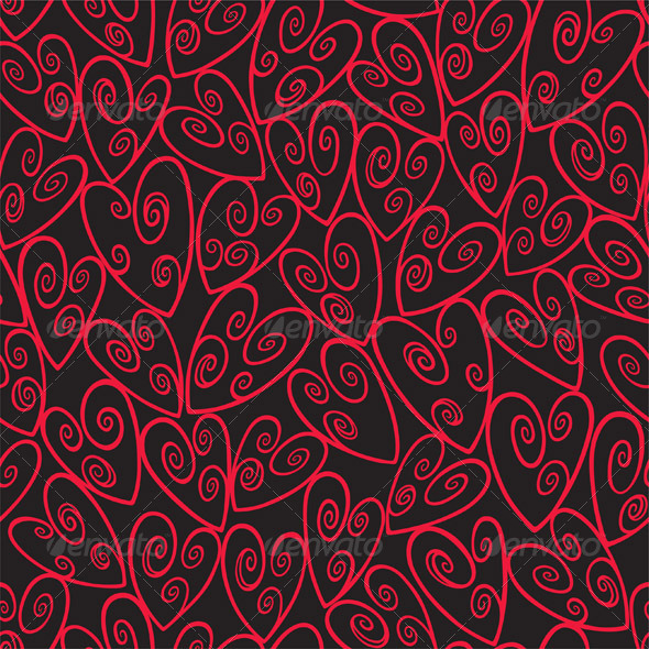 Seamless Loop Heart Pattern In Red