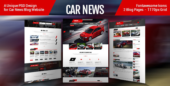 ThemeForest Car News PSD Template 8247969