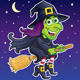 Witch Riding Her Broom At Night - GraphicRiver Item for Sale