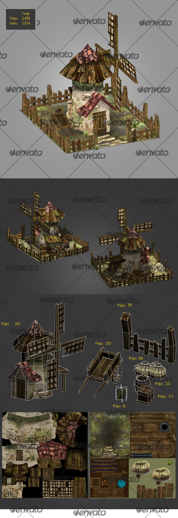 3DOcean Low poly Windmills old carriage wood box 8338293