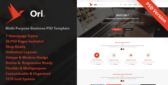 Ori – Multi-purpose Business PSD Template - Business Corporate