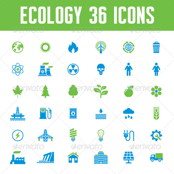 GraphicRiver Ecology Vector Icons Set 8338364