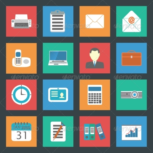 GraphicRiver Office Flat Icons Set 8338410