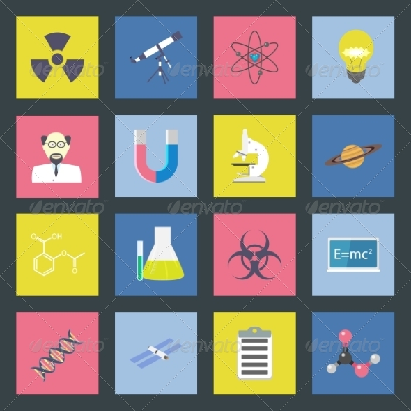 GraphicRiver Science Flat Icons Set 8338417