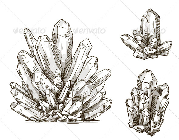 GraphicRiver Set of Crystals Drawings 8338482