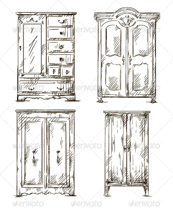 Set of Hand Drawn Wardrobes Interior Elements