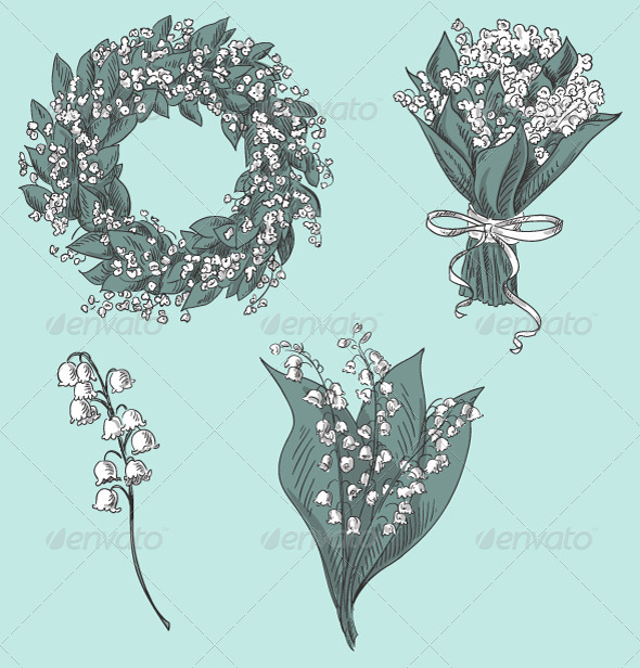 GraphicRiver Set of Lily of the Valley Drawings 8338600