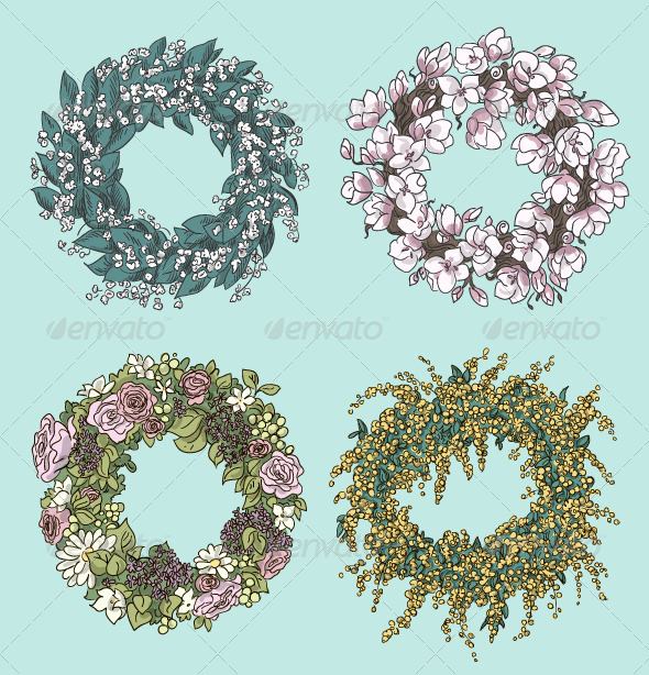 GraphicRiver Set of Stylish Wreath Drawings 8338609