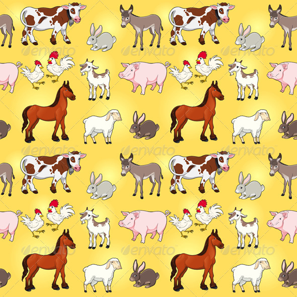 GraphicRiver Funny Farm Animals with Background 8338782