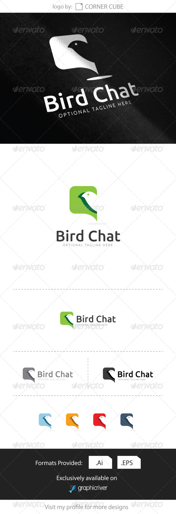 GraphicRiver Bird Chat Logo 8339122