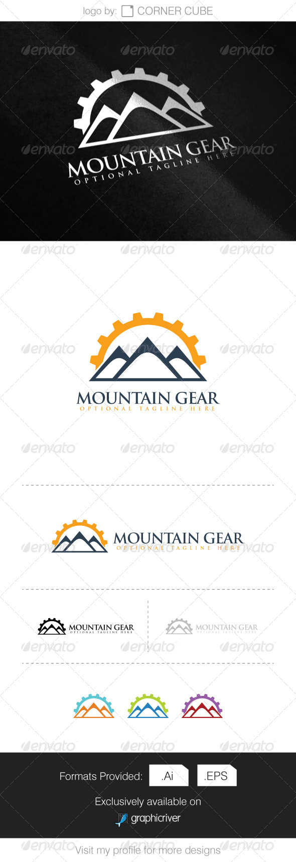 GraphicRiver Mountain Gear Logo 8340143