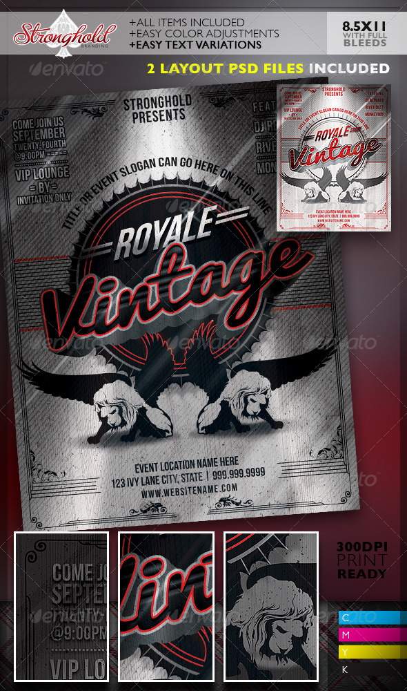 GraphicRiver Vintage Royale Lion Crest Event Flyer Template 8331511