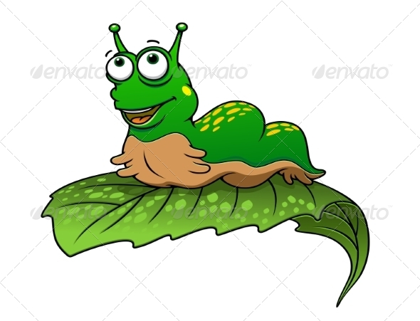 GraphicRiver Green Cartoon Caterpillar Insect 8340235