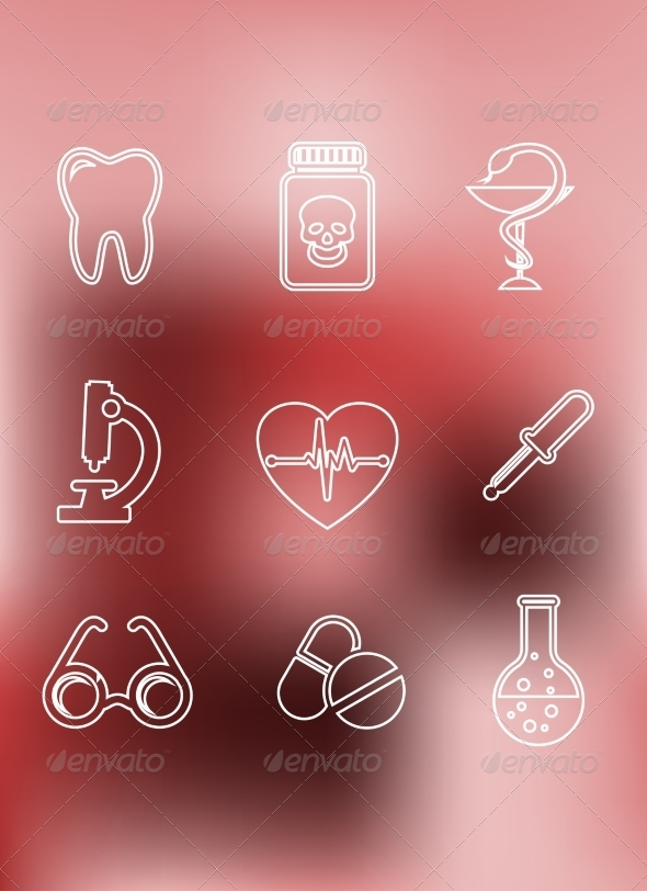 GraphicRiver Medical Icons in Outline Style 8340254