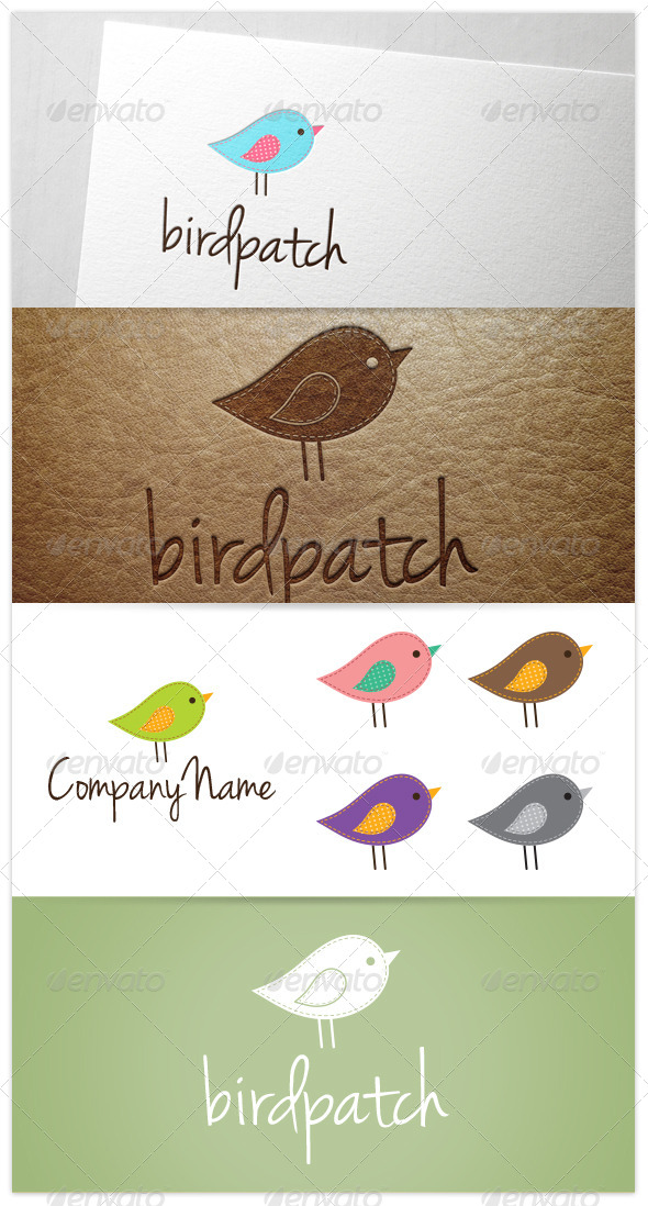 GraphicRiver Bird Patch Quilt Embroidery Logo 8340320
