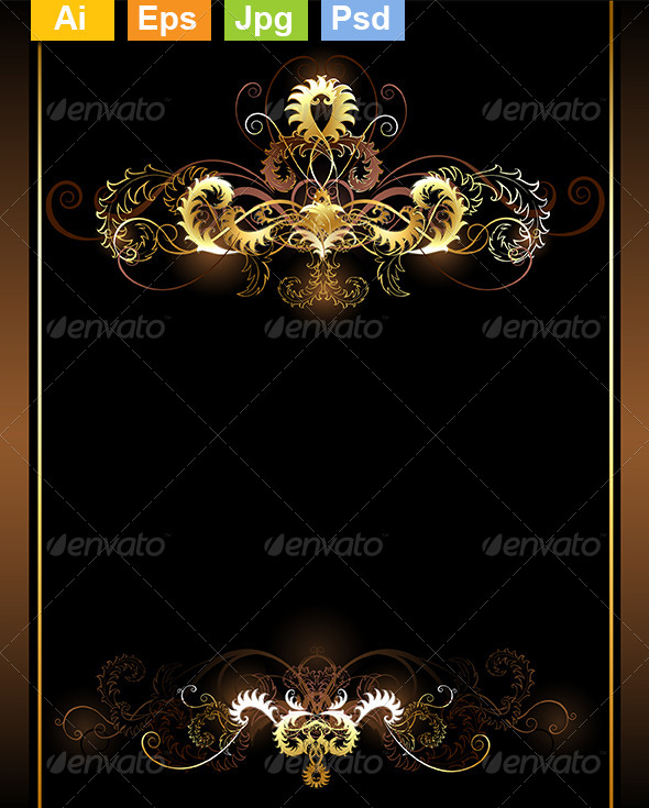 GraphicRiver Gold Vignettes 8340323