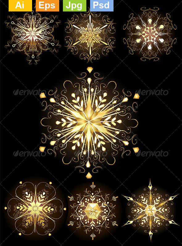 GraphicRiver Jewelry Snowflakes 8340397