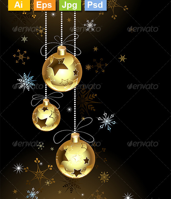 GraphicRiver Gold Christmas Baubles 8340399