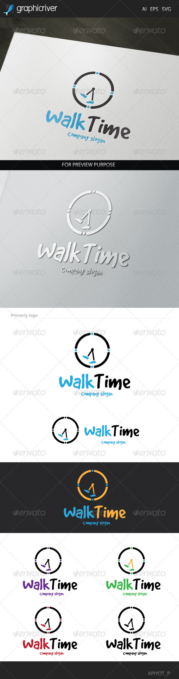 GraphicRiver Walk Time Logo 8340490
