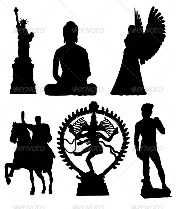 GraphicRiver Statues Silhouettes 8340538