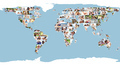 Illustrated world map made of pictures