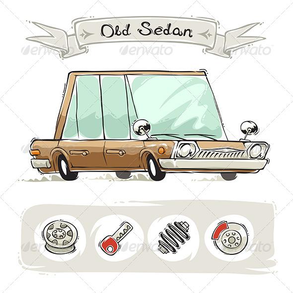 GraphicRiver Old Cartoon Sedan Set 8334533