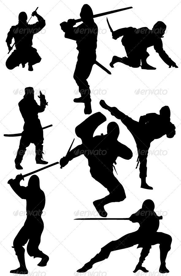 GraphicRiver Ninja Silhouettes 8343407