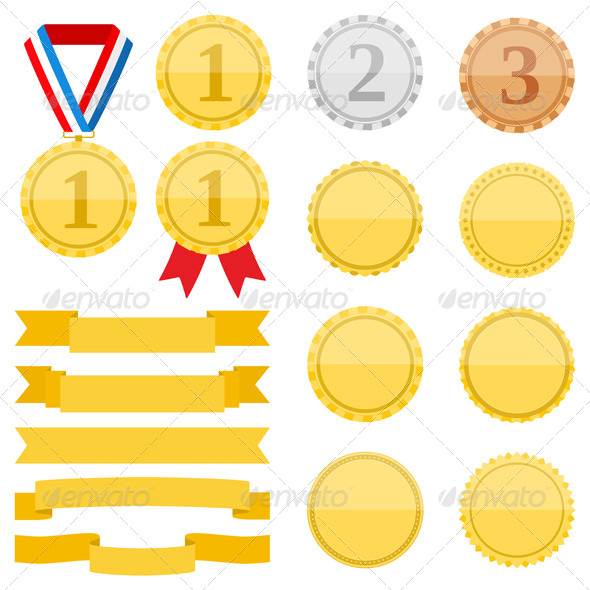 GraphicRiver Medals and Ribbons 8343649