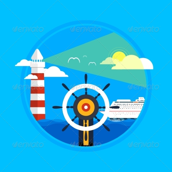 GraphicRiver Cruise Ship Lighthouse and Wheel 8343689