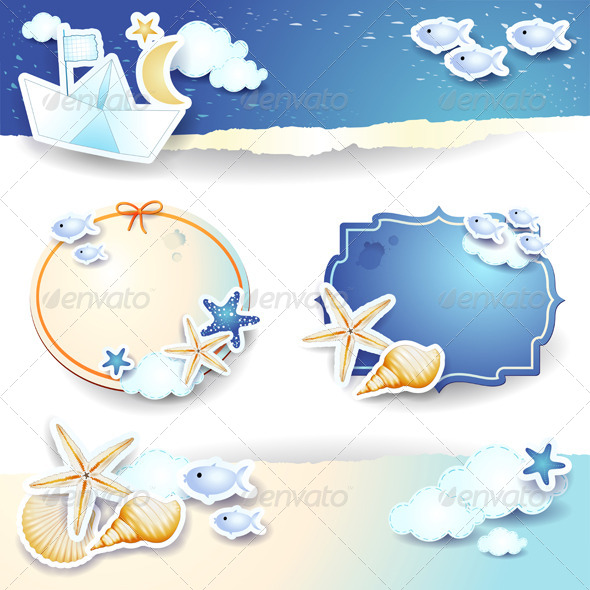 GraphicRiver Holidays on the Beach Paper Elements 8343690