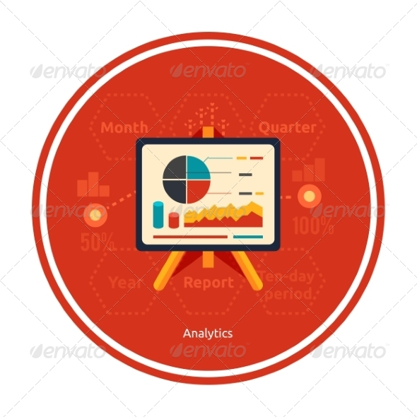 GraphicRiver Stand with Charts and Parameters of Analytics 8343761