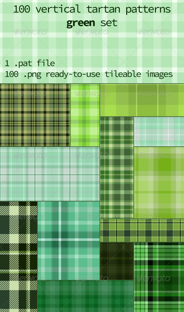 GraphicRiver Tartan Pattern Set Vertical Light Green 8312925