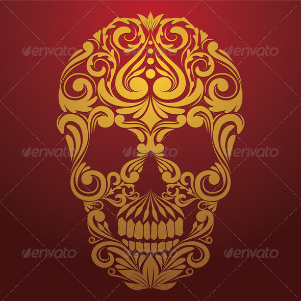 GraphicRiver Gold Skull Ornamental 8343841